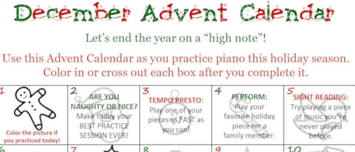 FREEBIE: Piano Practice Advent Calendar